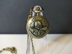 "2ND AMENDMENT POCKET WATCH-NEW""-DEFENDING LIBERTY-SKULL W/ PISTOLS-BRONZE 🩸🩸🩸"