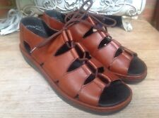 BNWOT RIEKER ANTISTRESS BROWN REAL LEATHER LACE UP SANDALS SIZE 41 (7.5)