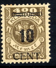 MEMEL (Lithuanian Occ) 1923 (May) 10 CENT on 400 Mk. MNH / **