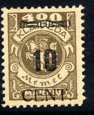 MEMEL (Lithuanian Occ) 1923 (May) 10 CENT on 400 Mk. MNH / **