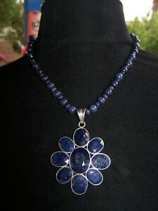 OOAK Large Boho Blue Sapphire Cluster Flower Sterling Silver Pendant Necklace