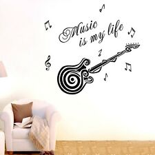 Music is my life Wall Quotes decals Removable stickers decor Vinyl home art DIY