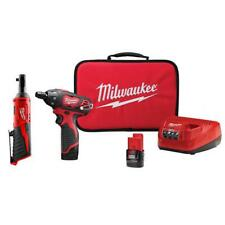 Milwaukee Combo Tool 2-Tools 12-Volt 2-Batteries Cordless Charger Belt Clip Bag