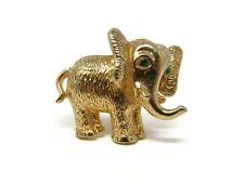 Vintage CASTLECLIFF Republican Elephant Brooch Green Rhinestone Eyes