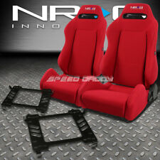 NRG TYPE-R RED RECLINABLE RACING SEATS+BRACKET FOR 06-11 HONDA CIVIC FA/FG1/FG2