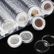 100 Pcs Coin Holder Clear Capsules Storage Box Round Display Case Container Tool