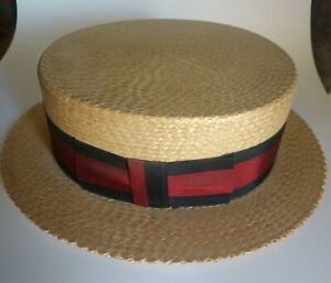 Vintage Straw Boater Hat with Ribbon, size 7-3/8, Made in Japan