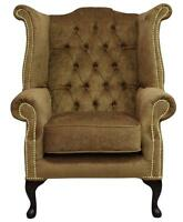 Chesterfield Queen Anne High Back Fireside Wing Chair Pimlico Corn Fabric Brass