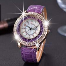 1x Vogue Women Crystal Dial Quartz Analog Leather Bracelet Wrist Watch Purple GA