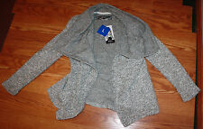 NWT Womens BNCI by BLANC NOIR Woven Gray White Sweater Cardigan M Medium