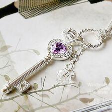 Lady Heart Silver Color Crown Key False Rhinestone Crystal Long Pendant Necklace