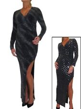 Open Leg Lurex Shimmer Stretch  Maxi Dress Black 10-18