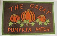 Harvest vintage Brown Autumn Pumpkin Patch Hooked Accent Rug Fall