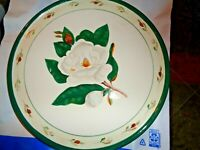 Hand Painted Magnolia Chop Cake Plate Platter 12 IN by FIB Flowers Inc Balloons