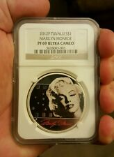 2012 P Tuvalu S$1 Marilyn Monroe Silver 1oz .999 Proof Coin NGC PF 69 UC  Rare