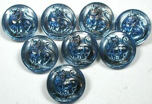 "8 Vintage Glass Buttons Pretty Blue Sitting Cat Design 1/2"""