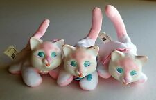 Vintage Hasbro Kitty Surprise Lot 3 Baby Kittens Pink White Blue Plush 1990's