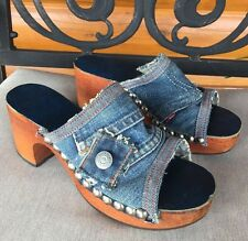 Vintage Rare Red Tab Levi's Blue Jean Denim Wood Clogs Heels Size 8 1/2