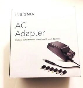 Insignia AC Adapter 3V-12V DC at Up to 600(mAh) W/ 7 Multiple Output Modes in BK