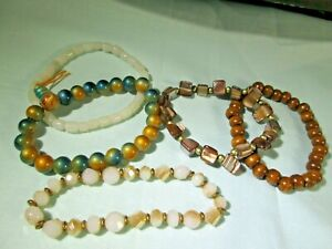Bracelet Lot of 5: Brass Tone / Shell / Stretch / Wood / Acrylic & Glass Beads