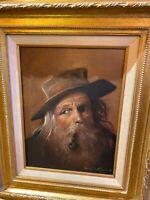 Oil Painting Old Sailor Smoking Pipe Donald F Allan Original