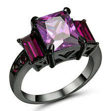 Size 9 Purple Amethyst CZ Crystal Women's 10Kt Black Gold Filled Wedding Ring
