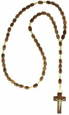Mens Wooden Rosary Beads Necklace, Jatoba Wood, Made in Brazil, 19 Inch