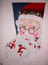 "KW 6005 ""Santa & Elves"" Christmas Stocking HP Hand Painted Needlepoint Canvas"