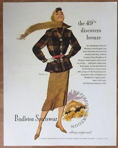 """Pendleton Woolen Mills Advertising Store Display Poster 22"""" x 28"""" Women's 49er"""