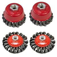 "Twist Knot Semi Flat Wire Wheel Cup Brush Sets for 4.5"" 9"" Angle Grinder 4"" 3"