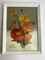 Norah Simpson Oil on Board Floral Art approximately 6.5 x 5 Signed By Artist