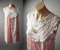 Pastel Pink Daisy Print Shabby Chic White Crochet Yoke Babydoll Sun 137 mv Dress