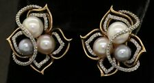 14K tri-color gold elegant lovely 1.76CT diamond & pearl flower earrings