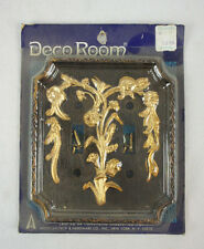 Vtg NOS American Tack Plastic dual Switch Plate Cover Antique gold Woodgrain