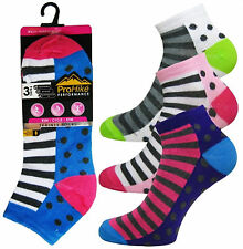 Ladies Multi Purpose Pro Hike Performance Trainer Liner Sport Socks Shoe 4 to 8 2037 Spots and Stripes 3 Pairs