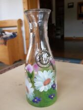 Hand Painted Floral Design Signed One Litre Glass Wine Carafe