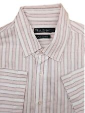 Lee Cooper Men's Shirt Size Large Pink & White Striped Shirt Sleeve Cotton