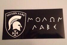 Molon Labe Black & White Vinyl Bumper Sticker Military NRA Second Amendment