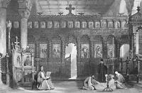 TURKEY Greek Church of St. Theodore Interior - ca 1840 Original Print Engraving