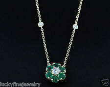 2.30ct 14k Yellow Gold Diamond Colombian Emerald Necklace Diamond By The Yard