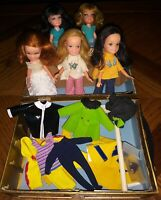 Vintage Tiny Teens 5 Dolls + Trunk + Outfits Uneeda Redhead 2 Blonde 2 Brunette
