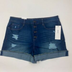 DKNY Womens Denim Shorts Blue Stretch Distressed Button Fly Cuffed Pocket 32 New