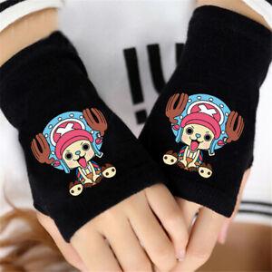 Anime ONE PIECE Luffy Women Gloves Knit Wrist Mitten Fingerless Cosplay Unisex