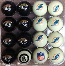 NFL Pool ball set - Jacksonville Jaguars and Miami Dolphins!! FREE US SHIP