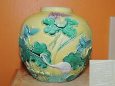 "Antique Chinese Wang Bing Rong Yellow 5"" Ginger Jar Crane Vase Carved Decoration"