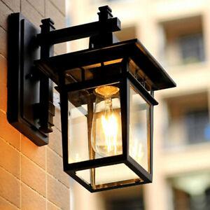 Glass Wall Lamp Garden Wall Lights Home Wall Sconce Outdoor Black Wall Lighting