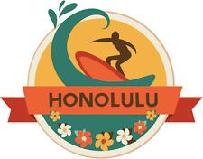 "Honolulu Oahu Island World City Travel Car Bumper Sticker Decal 5"" x 4"""