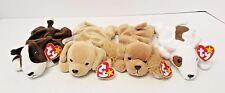 TY Original Beanie Babies Butch Fetch Spunky Bruno Dogs Set of 4