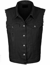 Women's Loose Fit Trucker Distressed Denim Vest S,M,L