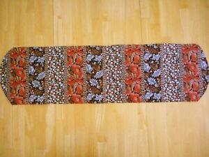 Handmade table runner - brown, orange, gray stripes  NEW